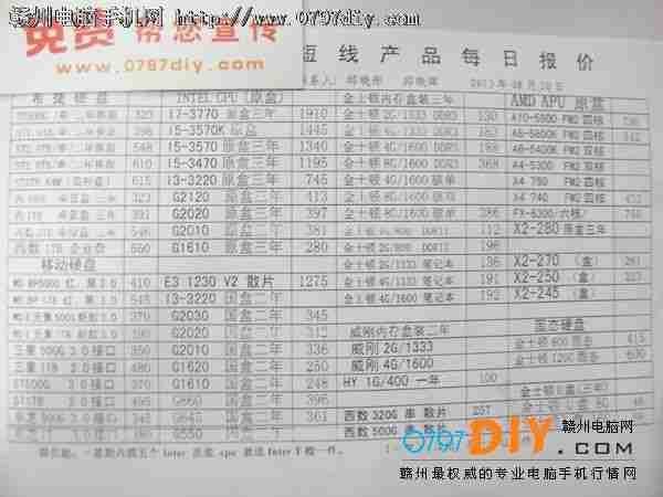 2013年8月20日亿客隆彩票网站国旭盈光CPU 硬盘 内存报价