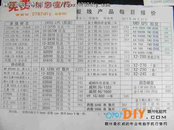 2013年8月22日亿客隆彩票网站国旭盈光CPU 硬盘 内存报价