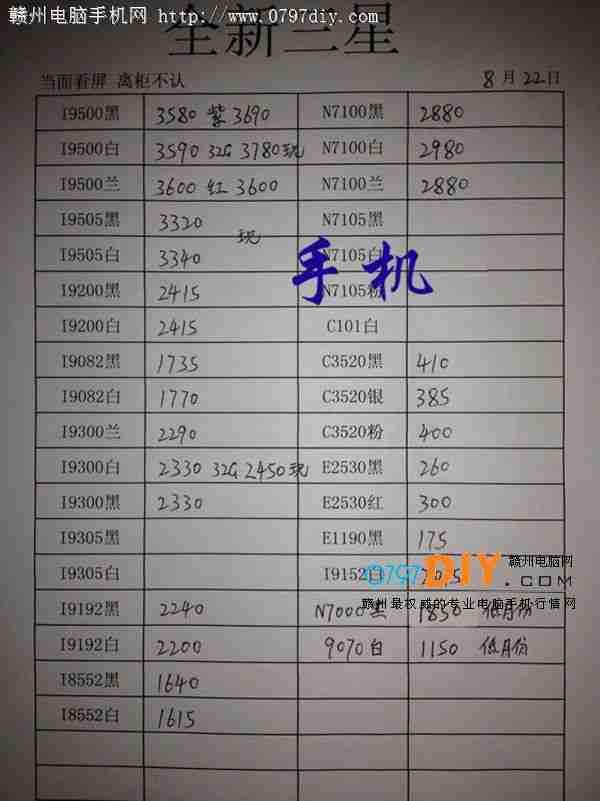 2013年8月22日亿客隆彩票网站三星手机报价